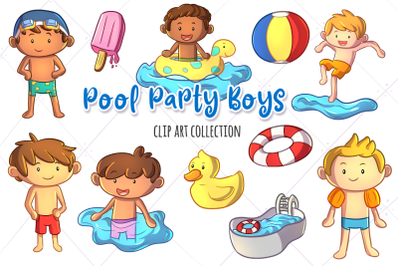 Pool Party Boys Clip Art Collection