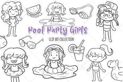 Pool Party Girls Digital Stamps