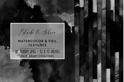 Black & Silver Watercolor and Foil Digital Papers