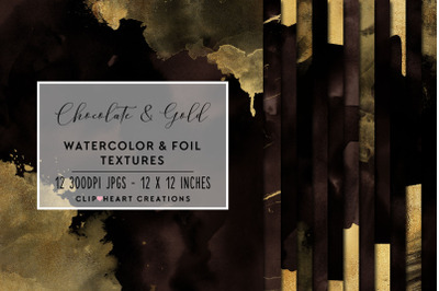 Brown & Gold Watercolor and Foil Digital Papers