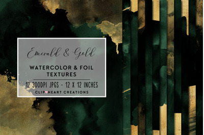 Emerald & Gold Watercolor and Foil Digital Papers