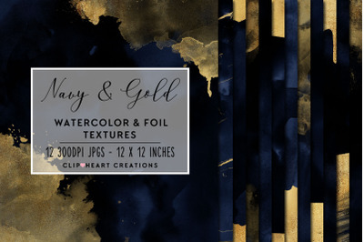 Navy & Gold Watercolor and Foil Digital Papers