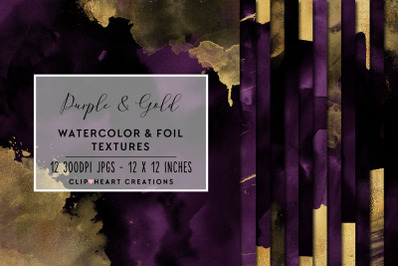 Purple & Gold Watercolor and Foil Digital Papers