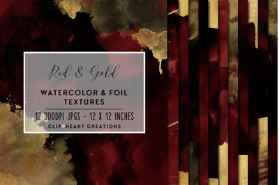 Red & Gold Watercolor and Foil Digital Papers