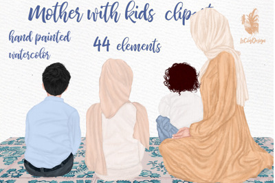 Muslim mother and children clipart Hijab clipart islamic