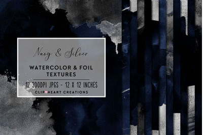 Navy & Silver Watercolor Foil Papers