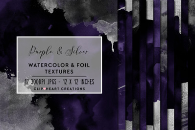 Purple & Silver Watercolor and Foil Digital Papers