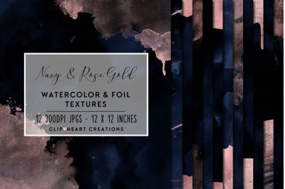 Navy & Rose Gold Watercolor and Foil Digital Papers