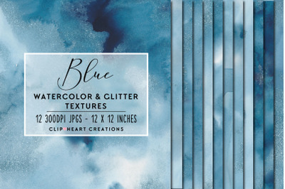 Blue Glitter Watercolor Digital Papers