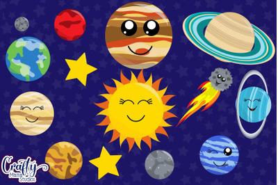 Planets Clipart, Solar System Clip Art Kawaii Graphics