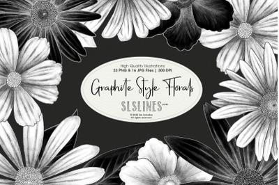 Graphite Style Floral Design Set
