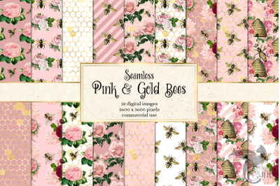 Pink and Gold Bees Digital Paper