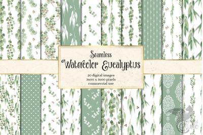 Watercolor Eucalyptus Digital Paper