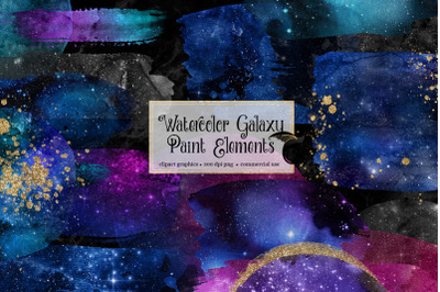 Watercolor Galaxy Paint Elements
