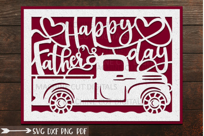 Happy Fathers Day card svg dxf laser cricut cut out template
