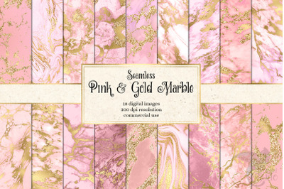 Pink and Gold Marble Digital Paper