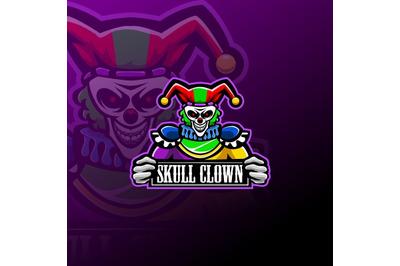 Skull clown esport mascot logo