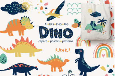 Funny Dino - Illustrations, Patterns