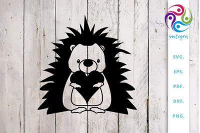 Heart Hedgehog SVG Cut File
