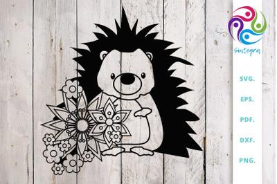 Floral Hedgehog SVG Cut File