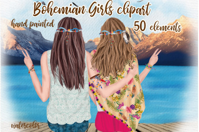 Hippie girls clipart Bohemian Girls Best Friends Mug design