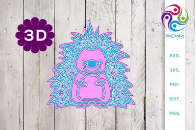 3D multi layer Cute Hedgehog out of Mandala SVG Cut File