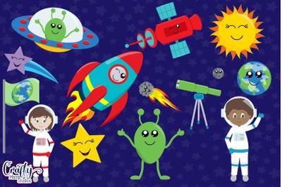 Outer Space Clipart, Planets Vector, Alien Clip Art, Space Ship