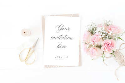 A5 wedding stationery mockup - Psd/Png with smart object and Jpeg