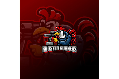 Rooster gunners mascot logo