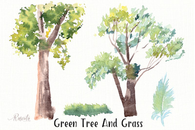 Green Tree And Grass Clipar