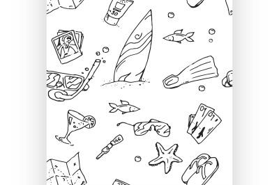 surfing hand draw pattern