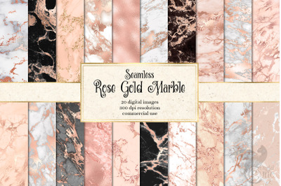 Rose Gold Marble Digital Paper
