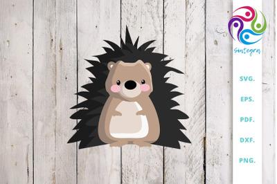 Hedgehog Illustration SVG Cut File