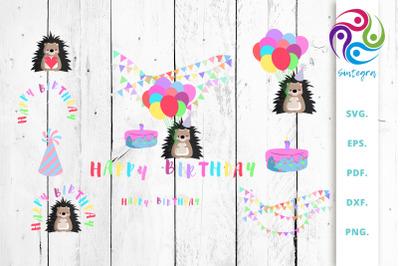 Hedgehog Happy Birthday Illustration