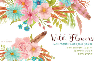 Wild Flowers Watercolor Clipart Set
