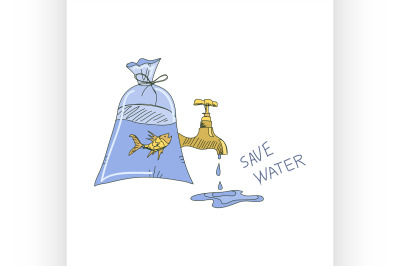 Colored doodle save water concept