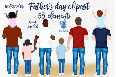 Father and children, Father's day clipart,Father's day gift