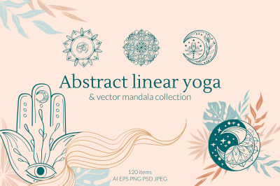 Abstract linear Yoga and vector mandala Collection