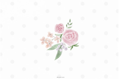 Watercolor flower bouqet clip art