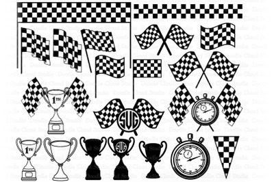 Race Flags SVG, Checkered Flag, Race Trophy Svg, Monogram Svg, Racing.