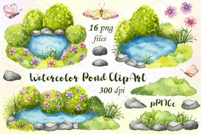 Watercolor pond clipart