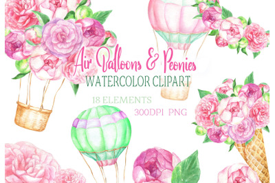 Watercolor air Balloons & Peonies clipart balloon ice cream flowers cl