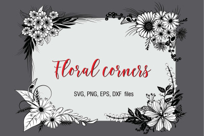Floral Corners Pack SVG, EPS, PNG, DXF files