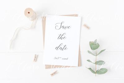 Wedding card mockup - greenery
