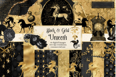 Black and Gold Unicorn Graphics