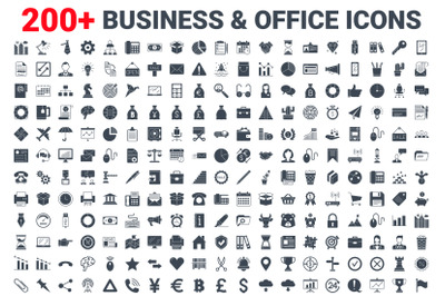 Set vector business, banking and finance icons glyph set.