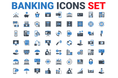 Set banking icons glyph. Black and blue color.