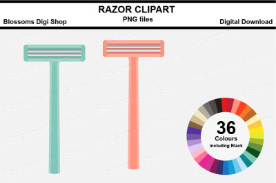 Razor Sticker Clipart, 36 files, multi colours