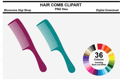 Hair Comb Sticker Clipart, 36 files, multi colours