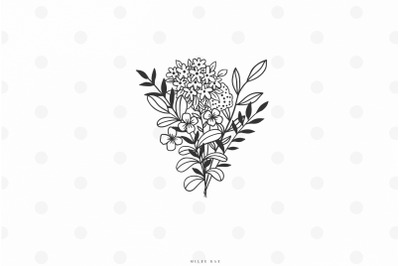 Wildflower bouqet svg cut file